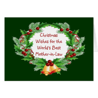 Christmas Wishes Holly Berry Wreath Mother-in-Law Card