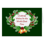 Christmas Wishes Mom Holly Berry Wreath Greeting Cards