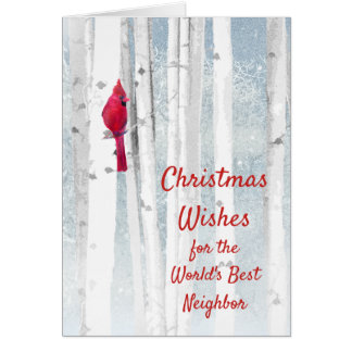 Christmas Wishes Red Cardinal for Neighbor Card