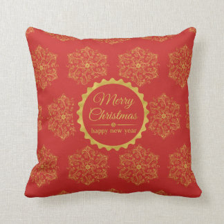 Christmas wishes red green gold flourishes pattern throw pillow