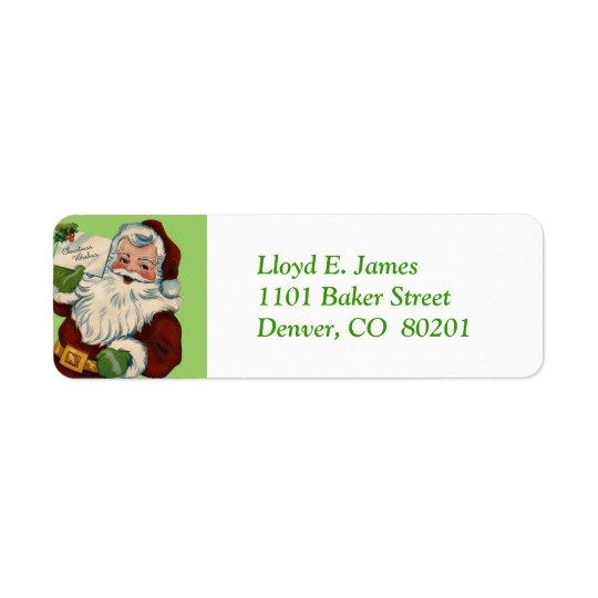 Christmas Wishes Santa Claus Return Address Label