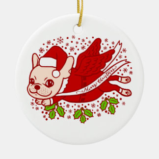 Christmas with a Frenchie Ceramic Ornament