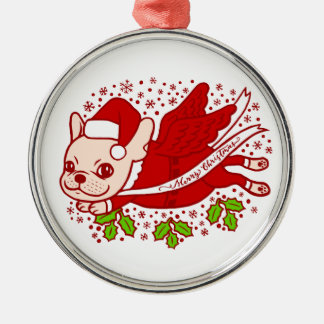 Christmas with a Frenchie Metal Ornament