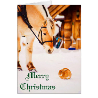 Christmas with farm animals outdoor in snow card
