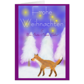 Christmas with fox and stars card