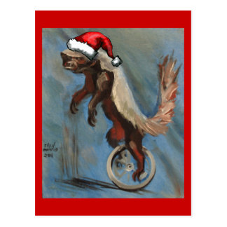 Christmas with Honey Badger Postcard