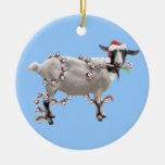 Christmas With Jada The Goat Round Ceramic Ornament