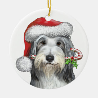 Christmas With Jazz The Bearded Collie Round Ceramic Ornament