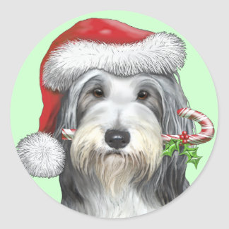 Christmas With Jazz The Bearded Collie Round Sticker