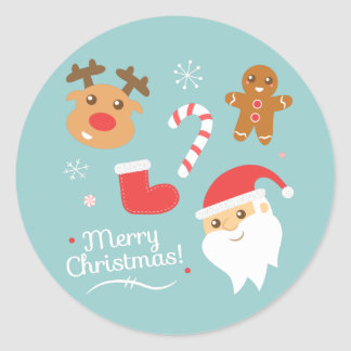 Christmas with Santa, Reindeer, Gingerbread Man Classic Round Sticker