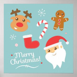 Christmas with Santa, Reindeer, Gingerbread Man Poster
