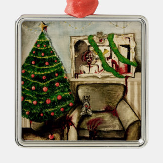 Christmas with zombies decoration Silver-Colored square ornament