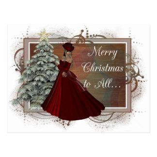 Christmas Woman Red Dress Design Postcards