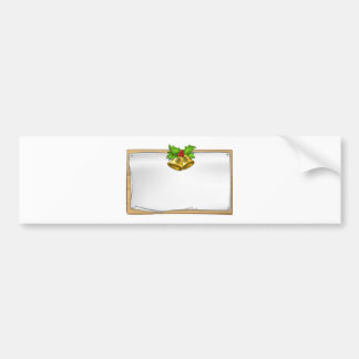 Christmas Wooden Scroll Sign Bumper Sticker