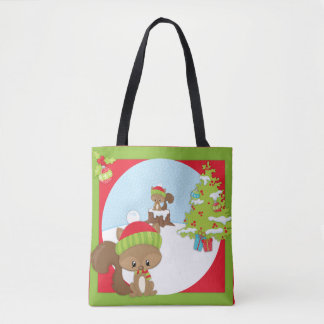 Christmas Woodland Animal Squirrel Tote Bag