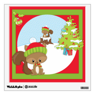 Christmas Woodland Animal Squirrel Wall Sticker