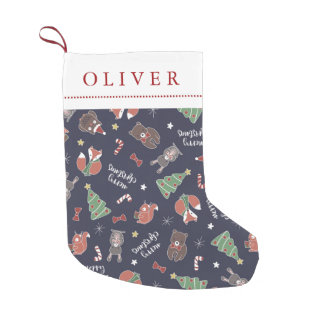 Christmas Woodland Animals Custom Name Small Christmas Stocking