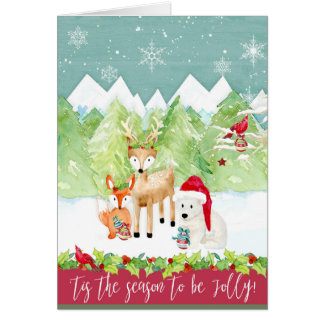 Christmas Woodland Deer Fox Bear Cardinal Photo Card