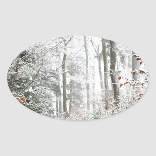 Christmas Woodland Oval Sticker