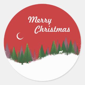Christmas Woods Scene Round Sticker