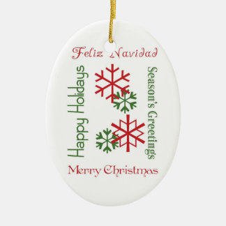 Christmas Words Ceramic Ornament