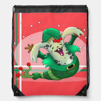 CHRISTMAS WORM ALIEN CARTOON Drawstring Backpack