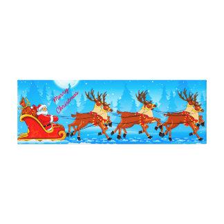 Christmas wrapped canvas/Santa Claus and Sleigh Canvas Print