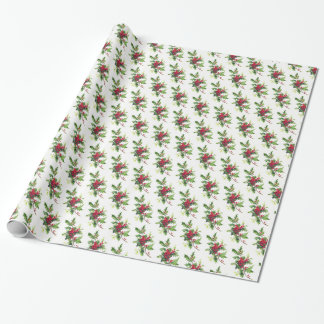 Christmas Wrapping Paper-Holiday Holly Wrapping Paper