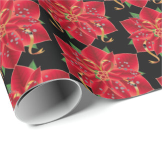 Christmas Wrapping Paper-Red Poinsettia Wrapping Paper