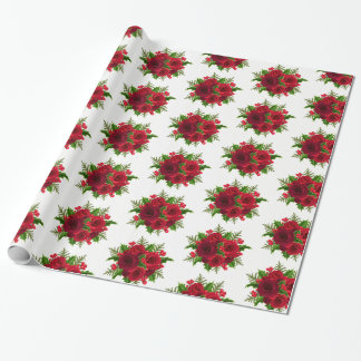 Christmas Wrapping Paper-Red Rose & Holly Wrapping Paper