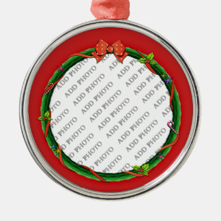 Christmas Wreath Add Your Photo & Red Background Metal Ornament