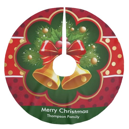 Christmas Wreath and Bell Tree Skirt Brushed Polyester Tree Skirt