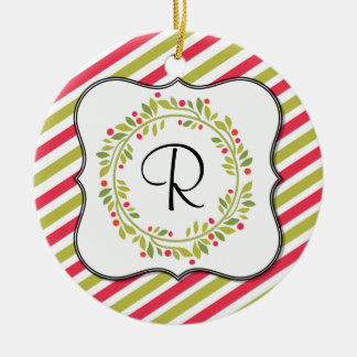 Christmas Wreath and Stripes Monogram Ceramic Ornament
