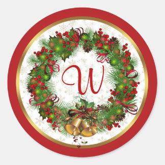 Christmas wreath, bells, holly Monogram Classic Round Sticker