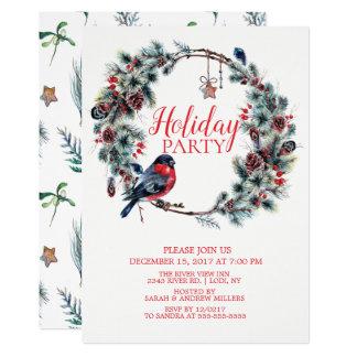Christmas Wreath Bird  Holiday Party Invitation