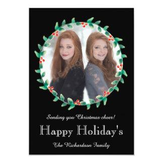 Christmas Wreath Black Photo Card