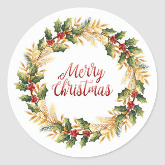 Christmas Wreath Classic Round Sticker