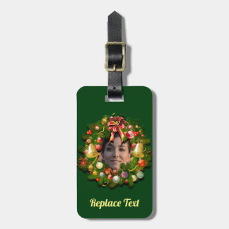 Christmas Wreath Customized With Your Photo Luggage Tag