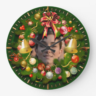 Christmas Wreath Customized With Your Picture Large Clock