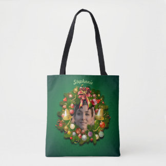 Christmas Wreath Customized With Your Picture Tote Bag