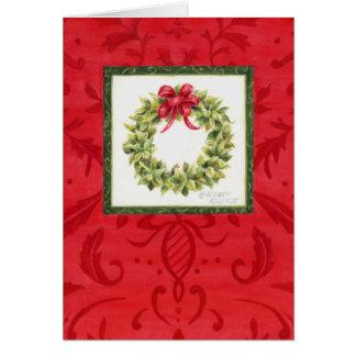 Christmas Wreath Damask Greeting Card