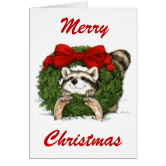Christmas Wreath Decoration And Raccoon Card
