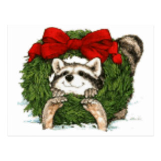 Christmas Wreath Decoration And Raccoon Postcard