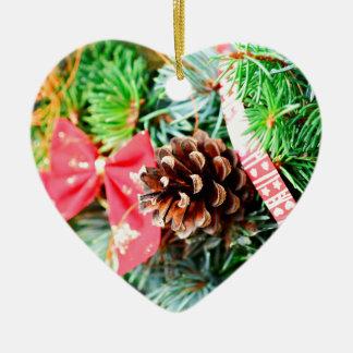 Christmas wreath decoration ceramic heart ornament