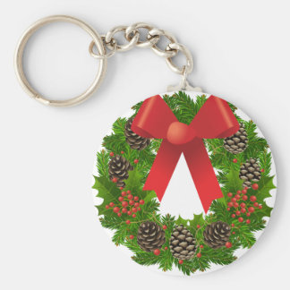 Christmas Wreath for the Holidays Keychain