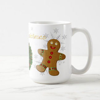 Christmas Wreath Gingerman, Candy Cain, Snowflakes Coffee Mug