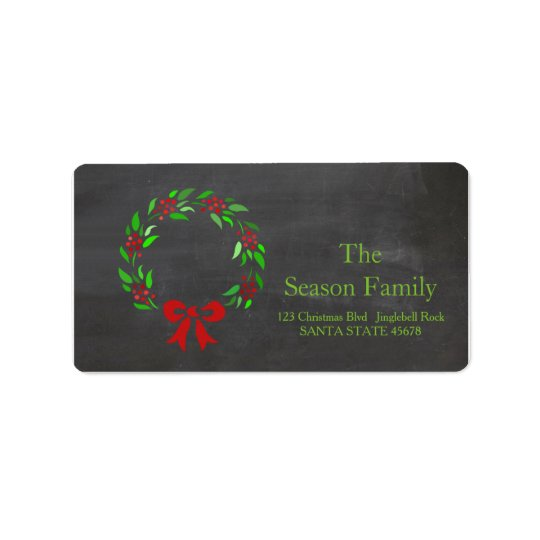 Christmas wreath Holiday Address Label