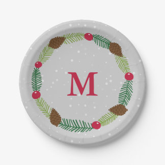 Christmas Wreath Holiday Print Paper Plate