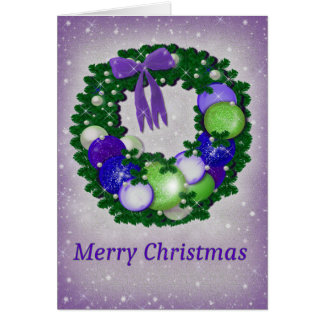 Christmas Wreath in Purple and Green Card