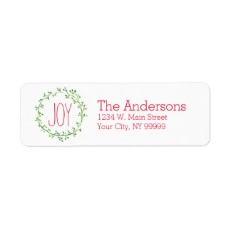 Christmas Wreath Joy Quote Return Address Labels